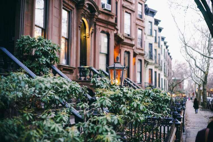 Brownstone buildings