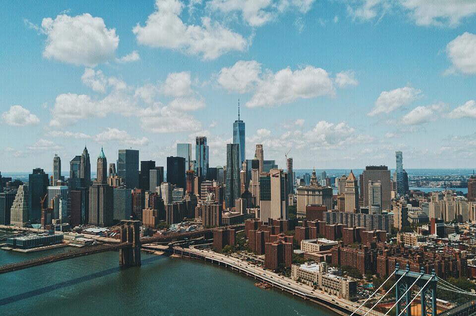 The borough of Manhattan next to the Brooklyn bridge