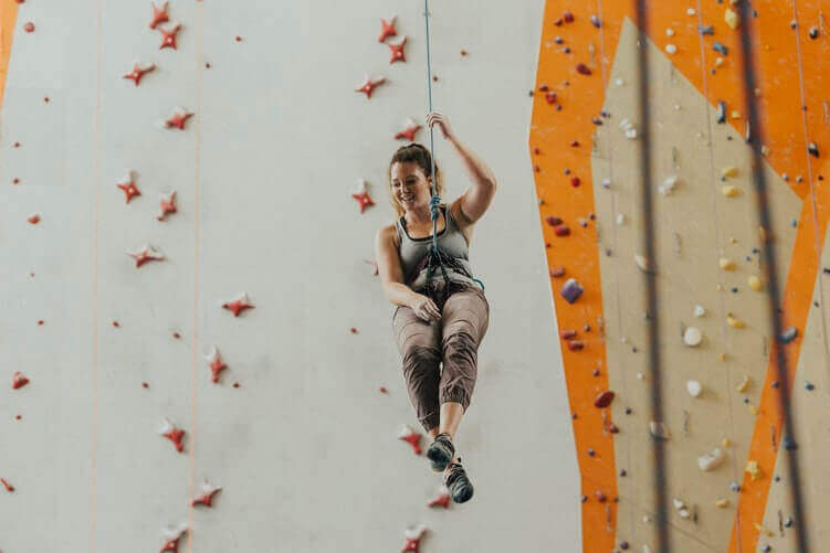 Woman in the climbing outfit