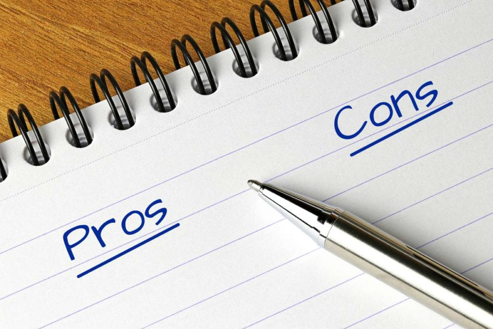 A list of pros and cons